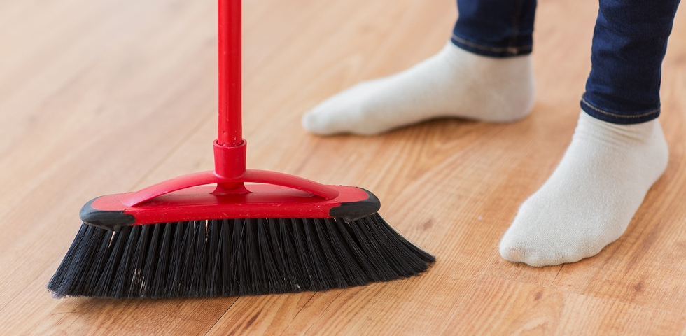 Brooms are one of the best office cleaning supplies.
