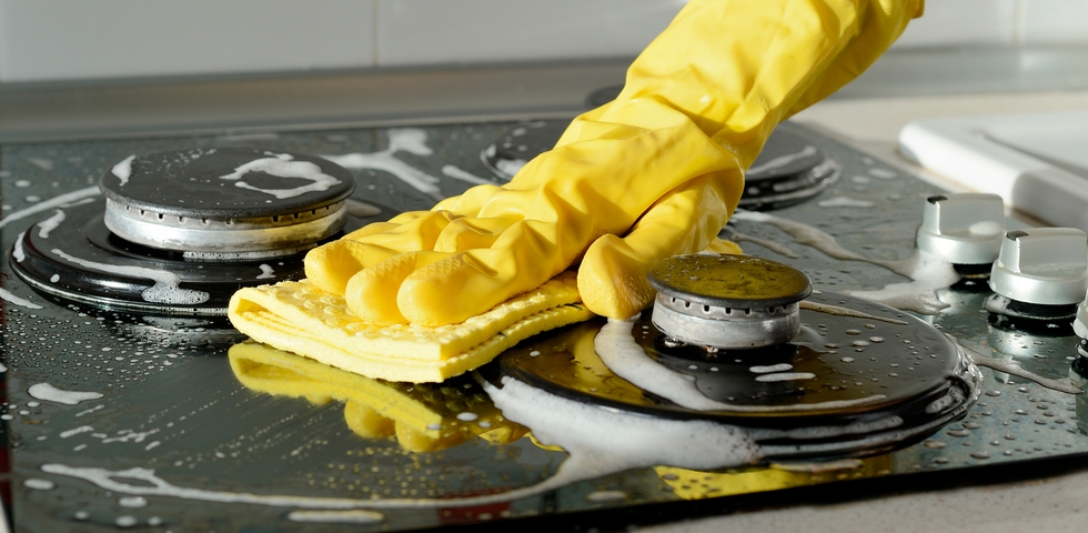 Clean the kitchen appliances and fixtures
